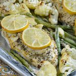 sheet-pan-lemon-herb-chicken-dinner-with-baked-cauliflower-and-green-beans