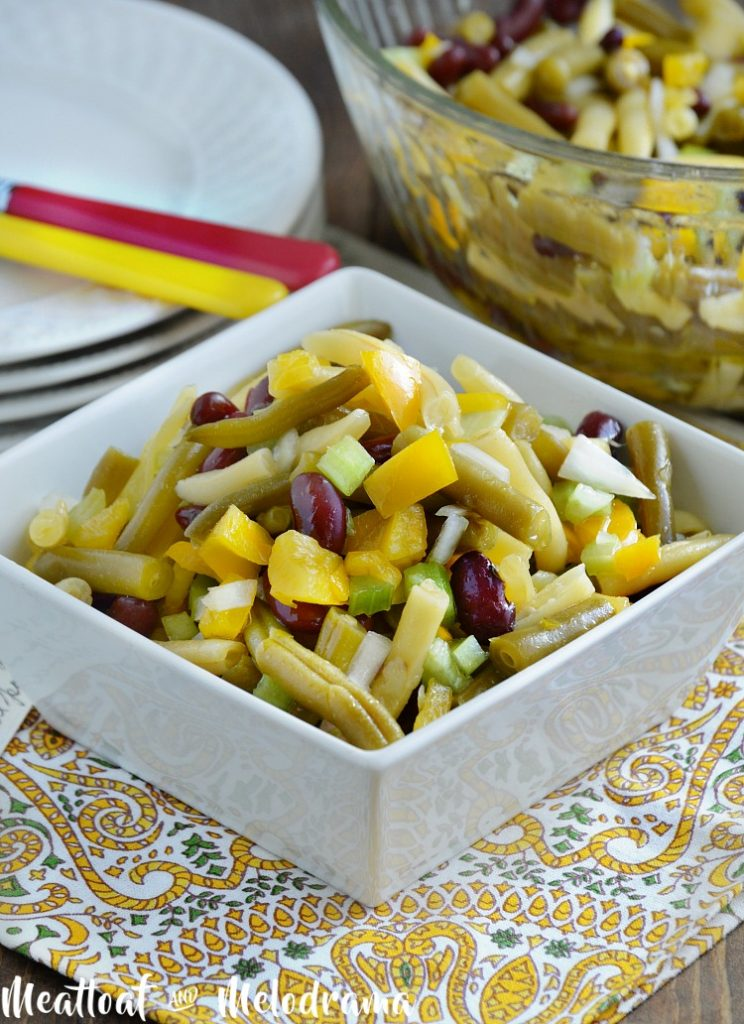 old fashioned three bean salad recipe in white serving dish