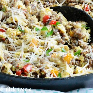 low carb sausage egg breakfast scramble skillet