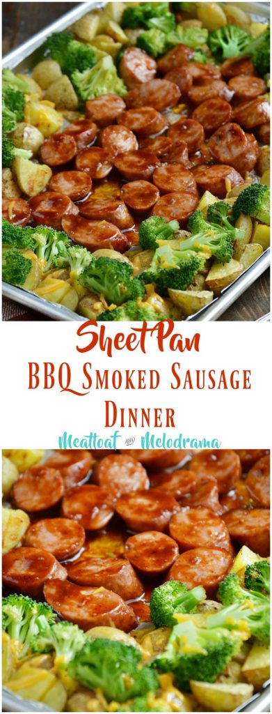 Sheet Pan BBQ Smoked Sausage Dinner with Broccoli and Potatoes
