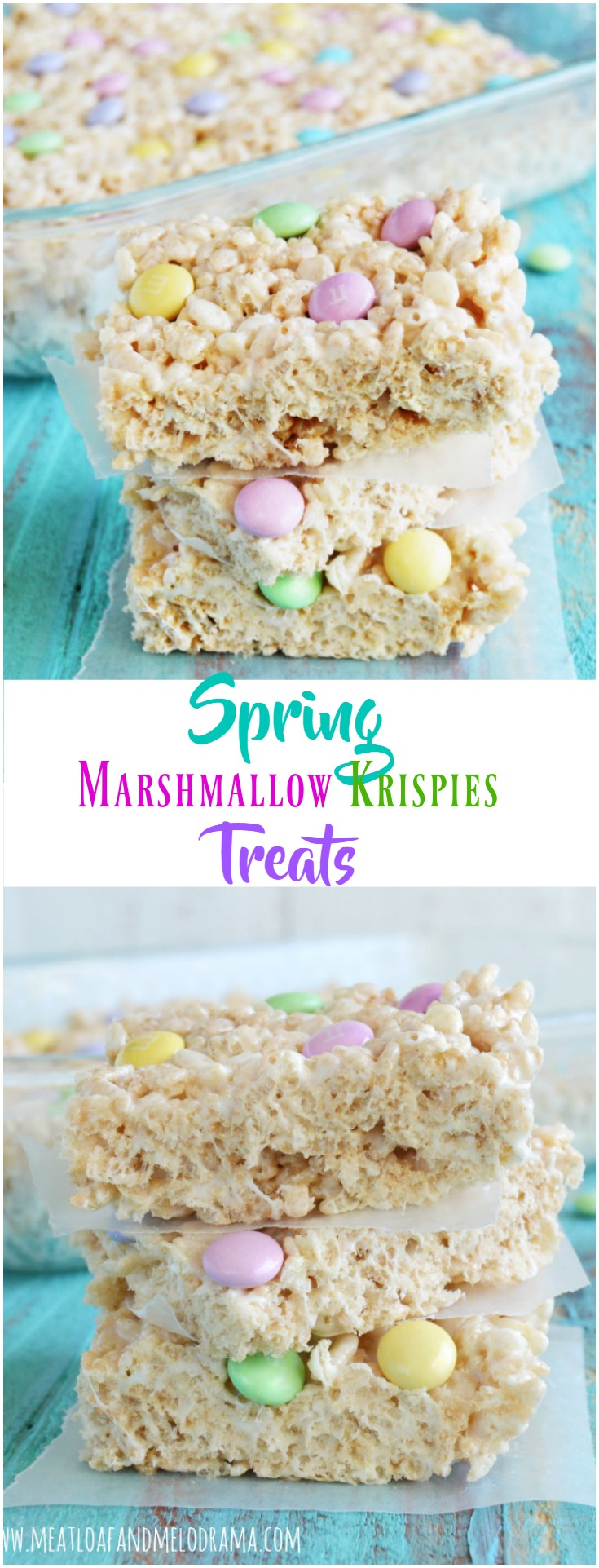 collage of spring cereal marshmallow bars