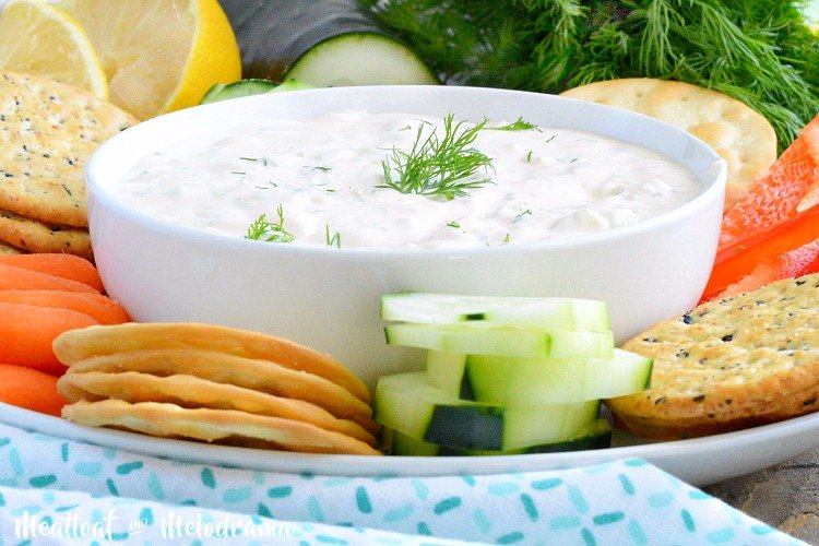 easy cucumber dill dip recipe with sriracha and veggies
