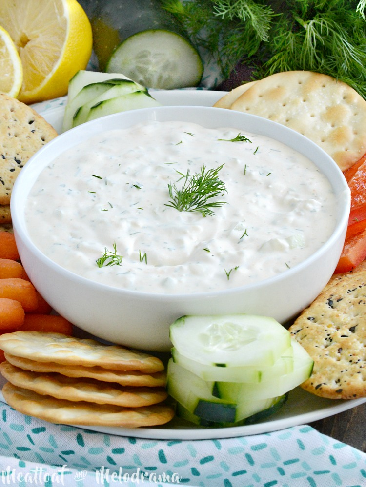 easy cucumber dill dip appetizer tray