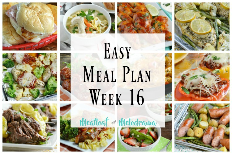 easy meal plan week 16 photo collage