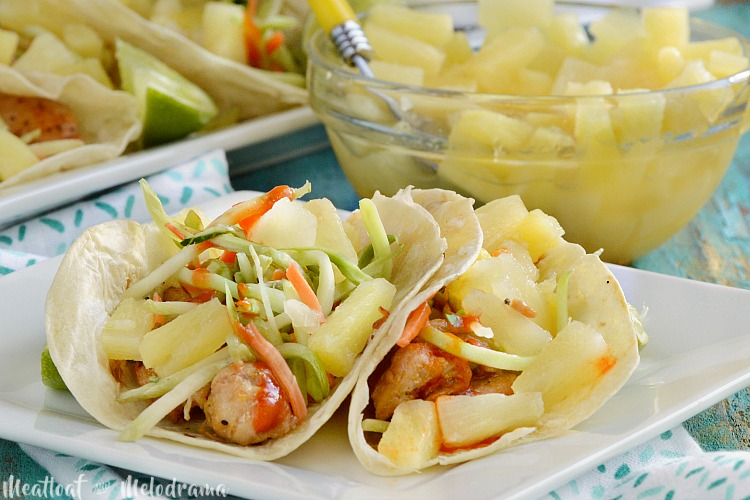 pineapple sriracha chicken tacos