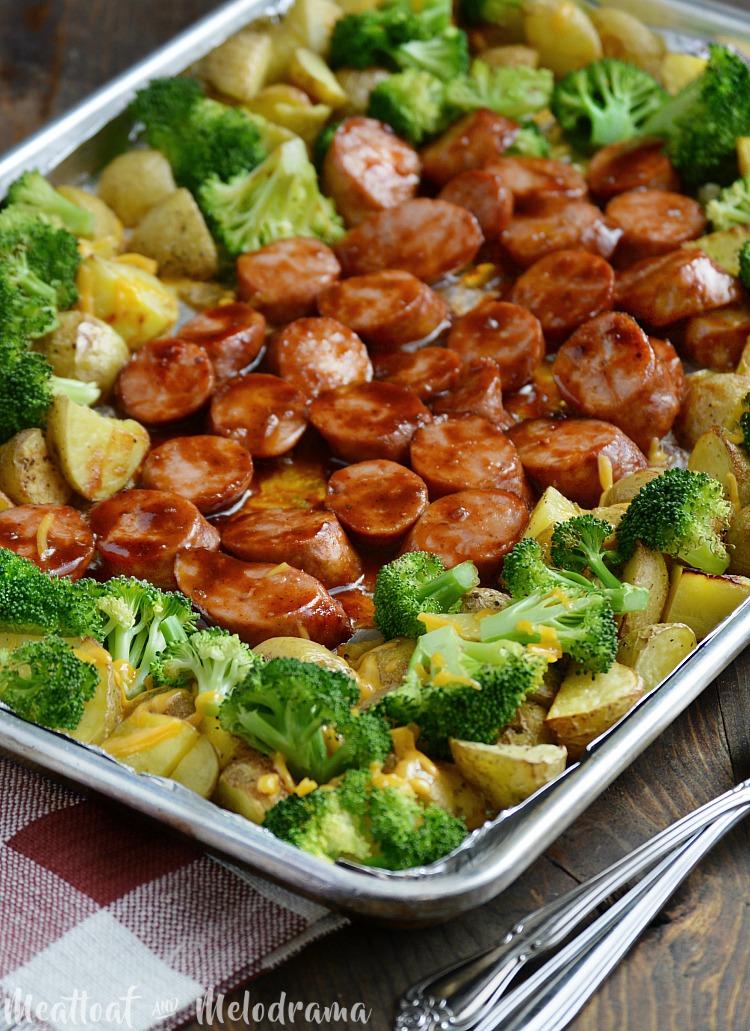 sheet pan bbq smoked sausage dinner recipe
