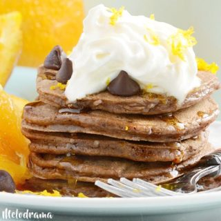 chocolate orange pancakes with chocolate chips and orange zest