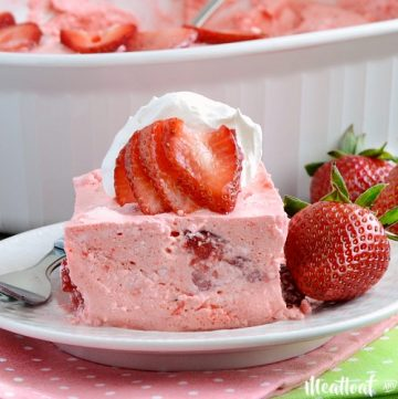 easy strawberry jello fruit salad on plate