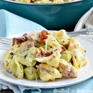 one pot cheesy ham tortellini skillet dinner made with leftover ham