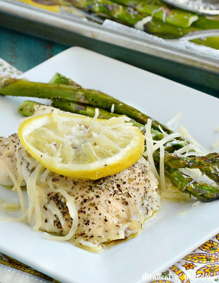 sheet pan lemon butter chicken and asparagus with Parmesan recipe