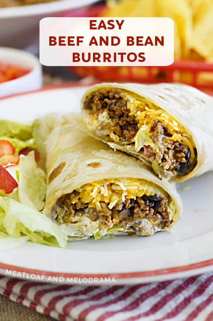 Beef and Bean Burritos made with ground beef, black beans and cheese take 20 minutes to make and are ideal when you need a quick and easy dinner!