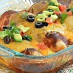 easy enchilada chicken bake in baking dish