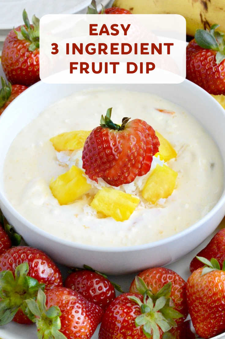 This Easy Fruit Dip is cool, creamy and you only need 3 ingredients to make it. Serve with fresh fruit, crackers or cookies for an easy snack or appetizer.