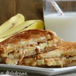 Grilled Peanut Butter Banana sandwich recipe with glass of milk