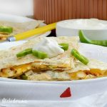 spicy pepper jack chicken quesadillas with sour cream and peppers recipe