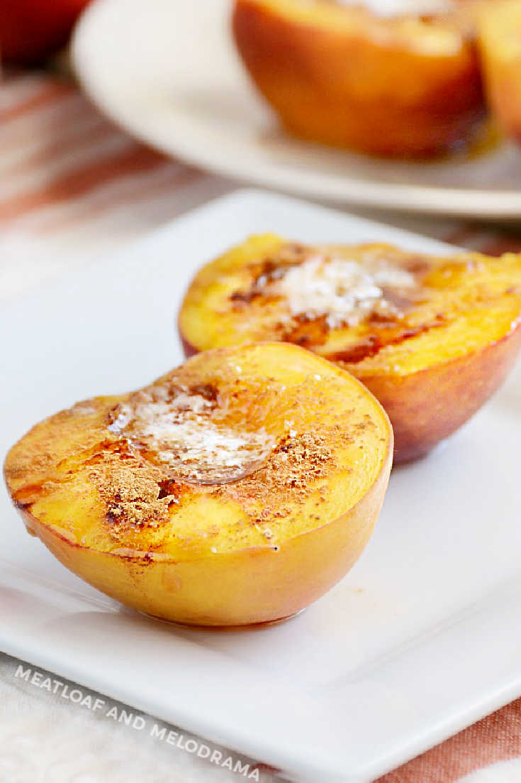 brown sugar cinnamon baked peaches on plate