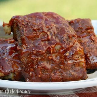 easy slow cooker bbq ribs on platter outside