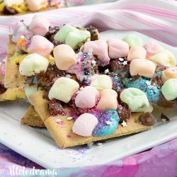 easy unicorn s'mores bars with chocolate chips and marshmallows