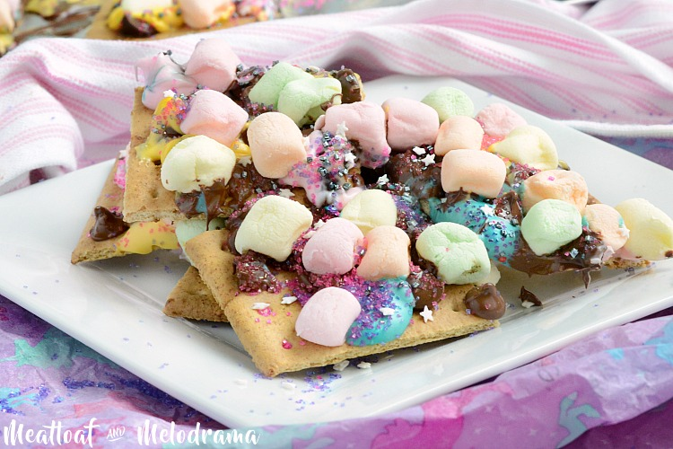 easy unicorn s'mores bars