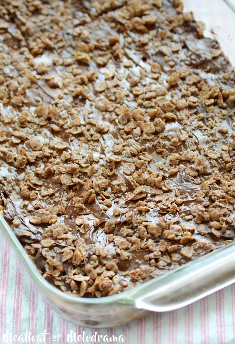 no bake chocolate peanut butter cereal bars in pan