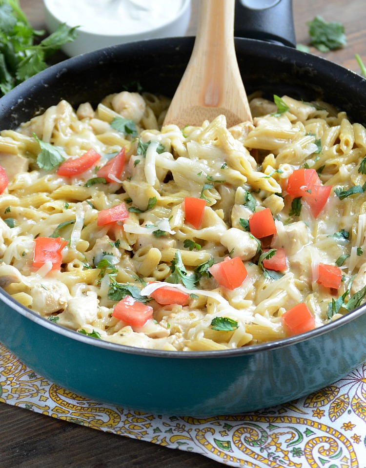 one pot salsa verde chicken pasta in skillet