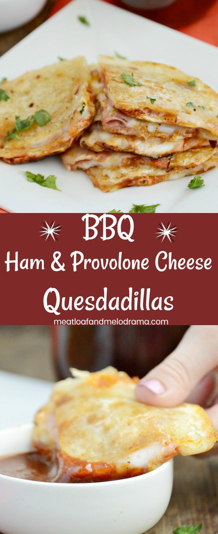 BBQ Ham and Provolone Cheese Quesadillas - A quick and easy lunch, dinner or snack made with deli ham, provolone cheese and barbecue sauce. Takes 5 minutes to make and kids love it!