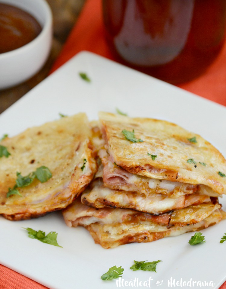 bbq ham and provolone cheese quesadillas stacked