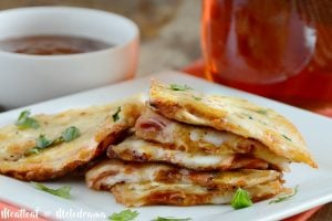 bbq ham and provolone cheese quesadillas on platter