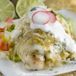 cheesy salsa verde chicken bake with green tomatillo sauce plated