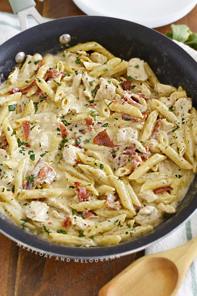 chicken bacon ranch pasta in pan