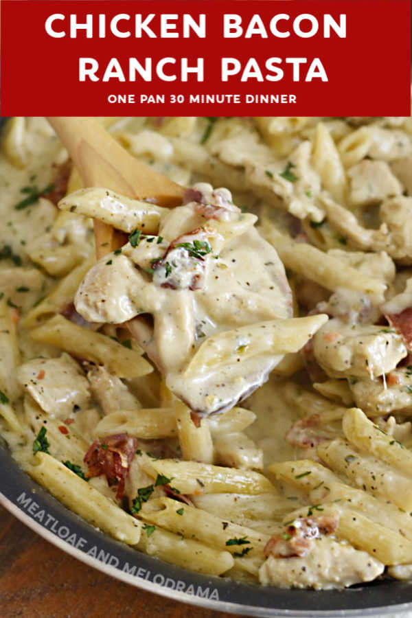 close up of chicken bacon ranch pasta on a spoon