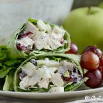 cranberry apple chicken salad wraps with red grapes on plate