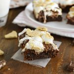 one bowl s'mores brownies on plate with milk