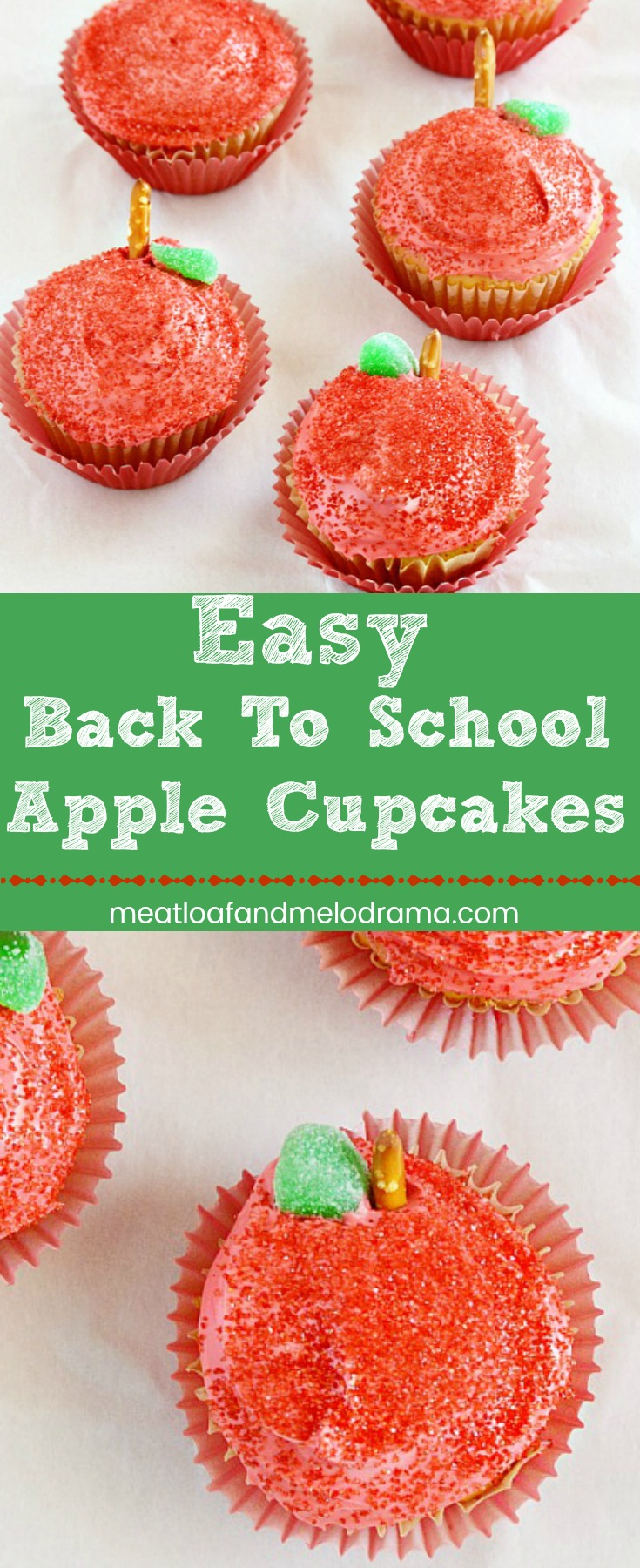 Easy Back to School Apple Cupcakes - With red sugar frosting, pretzel stems and candy leaves, these easy treats are perfect for an easy dessert or classroom celebration