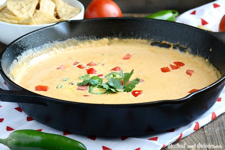 easy homemade queso dip in cast iron skillet