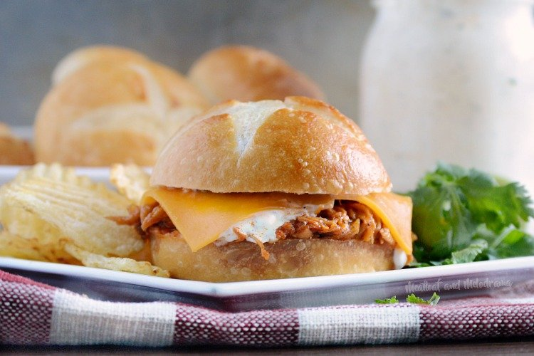 honey chipotle bbq chicken sliders with cheddar cheese and ranch dressing