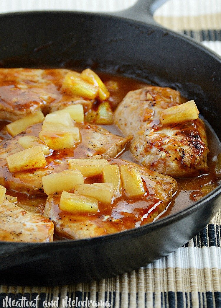 hawaiian bbq pork chops with pineapple in skillet