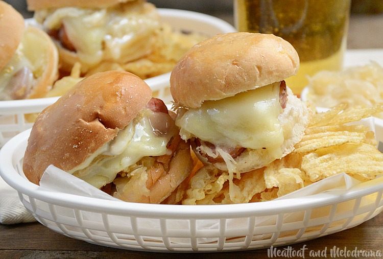 kielbasa sauerkraut sliders in basked with chips