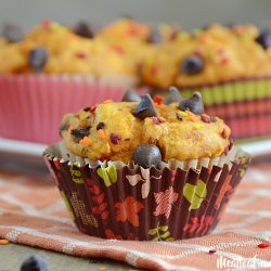 easy pumpkin chocolate chip muffins made with cake mix
