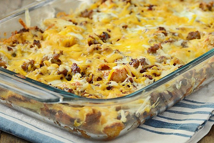 make ahead sausage sourdough breakfast casserole in baking dish