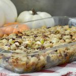cranberry apple sausage stuffing in baking dish