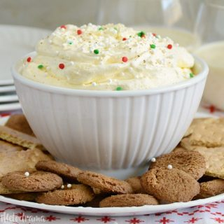 easy eggnog dessert dip with graham crackers and cookies