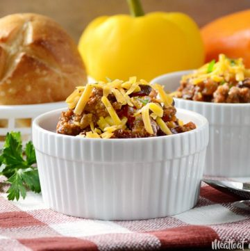 mom's best chili recipe in ramekin