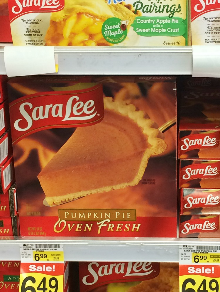 sara lee pumpkin pie on store shelf