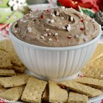 peppermint mocha dessert dip with graham crackers on tray