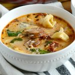 easy chicken sausage tortellini soup in bowl