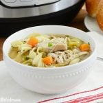 instant pot chicken noodle soup in white bowl