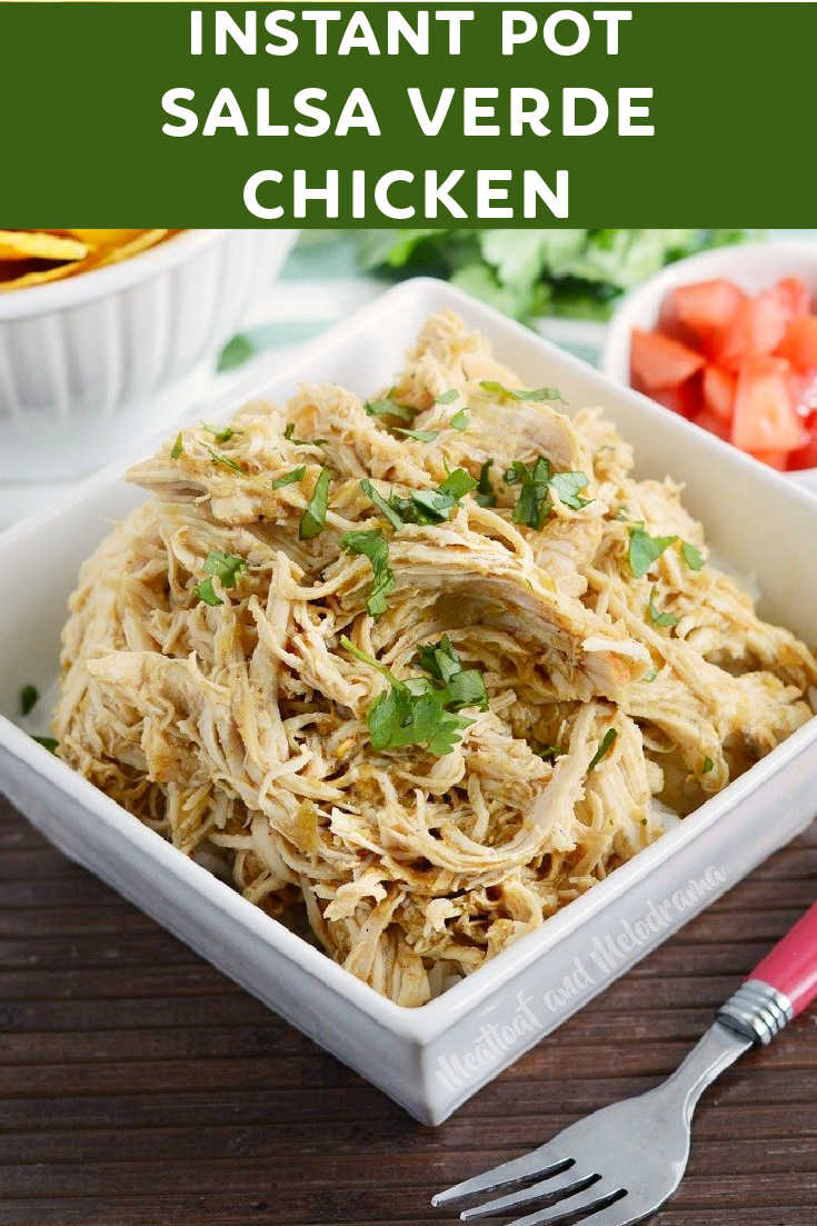 Instant Pot Salsa Verde Chicken is an easy 3 ingredient recipe for seasoned shredded chicken in the pressure cooker. Perfect for tacos!