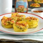 Southwest egg muffin cups on red and white plate