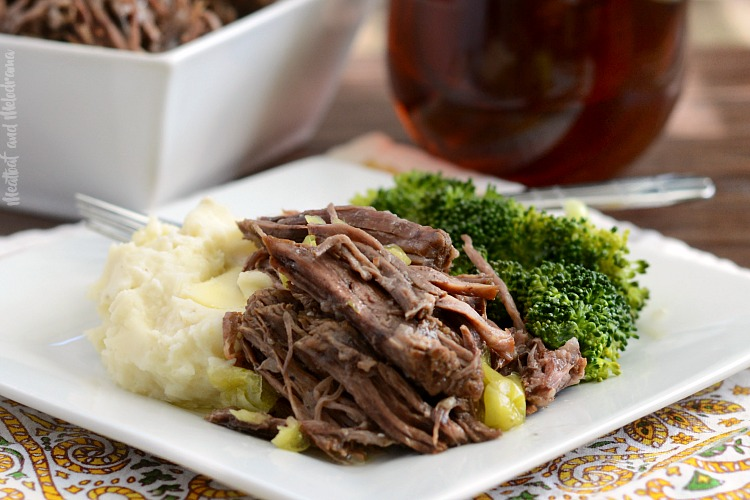 instant pot mississippi chuck roast on plate with mashed potatoes and broccoli